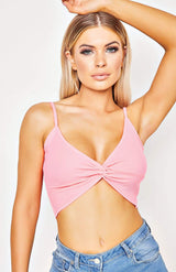 Pink Rib Knit Twist Front Cami Top