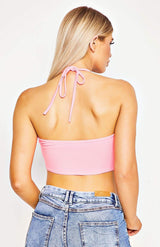 Pink Ruching Tie Detail Bandeau Crop Top