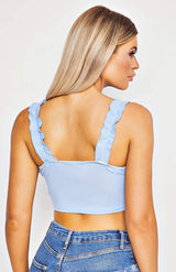Powder Blue Ruffle Trim Tie Front Crop Top