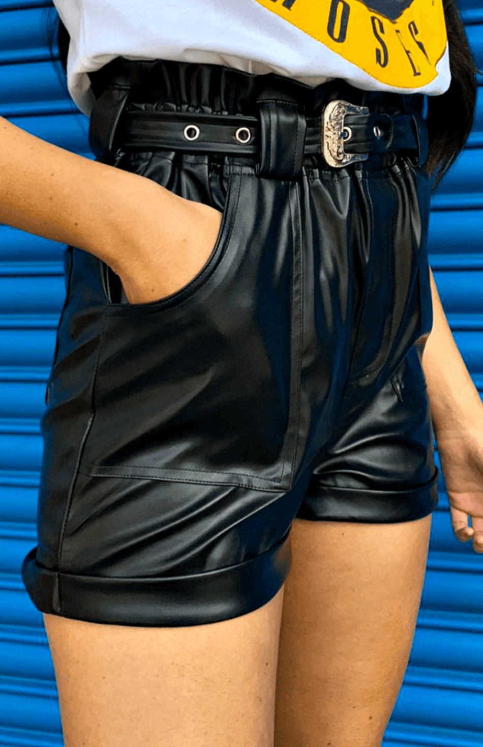Black PU Faux Leather Self Belt Shorts