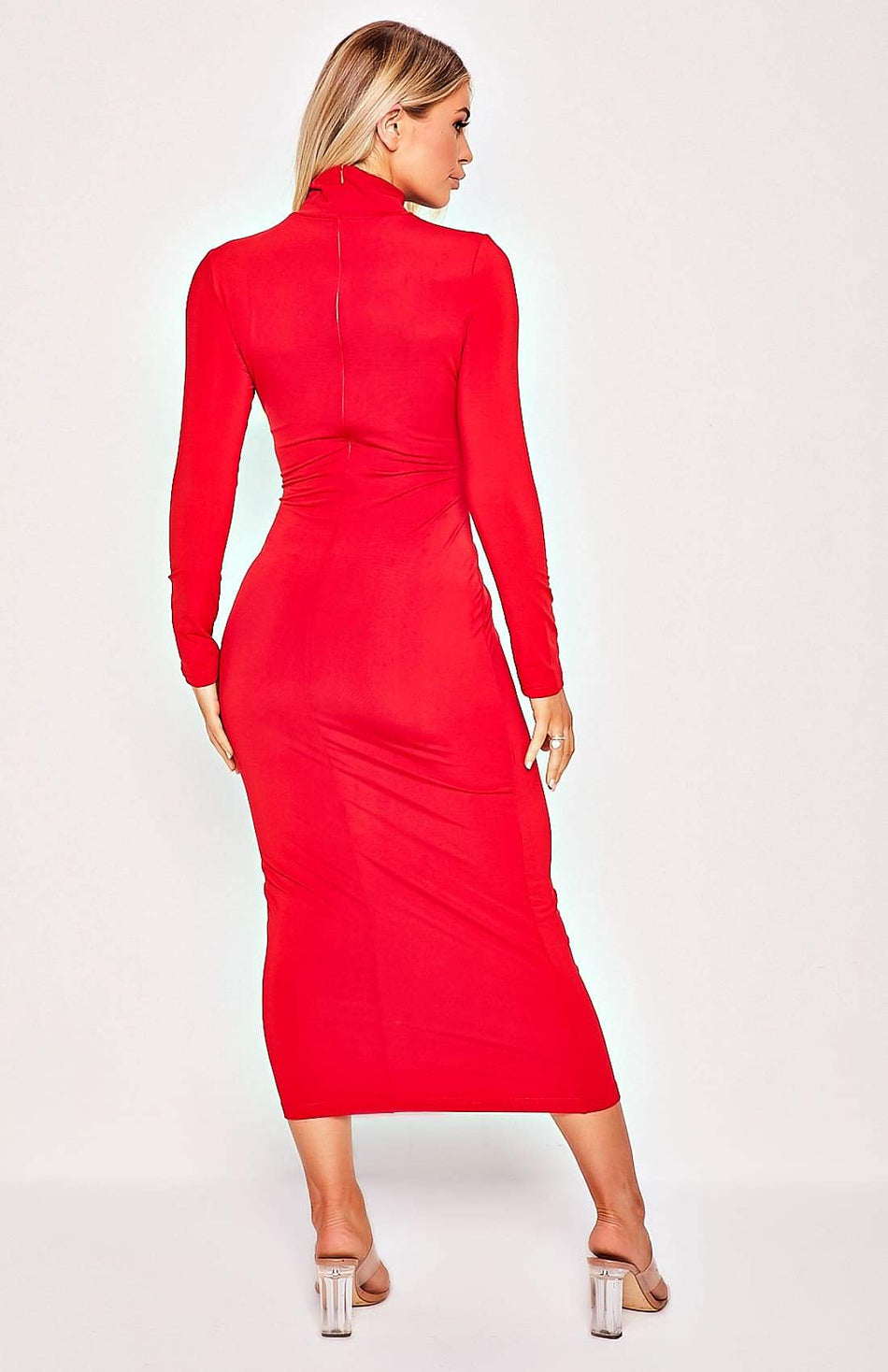 Red High Collar Long Sleeve Stretch Midi Dress