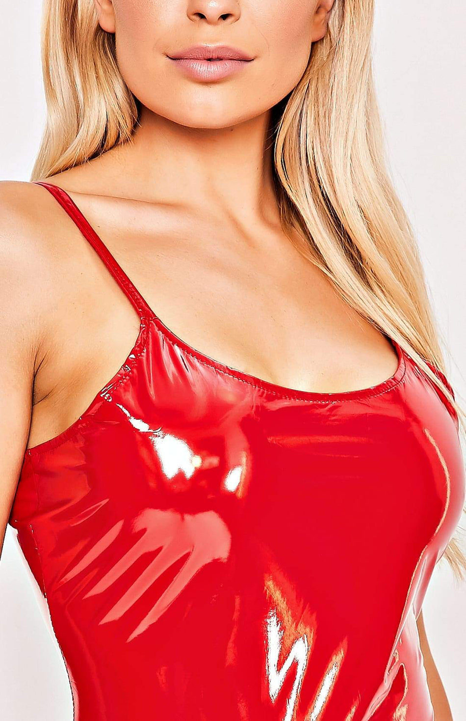 Red Strappy PU Sling Bodycon Mini Dress