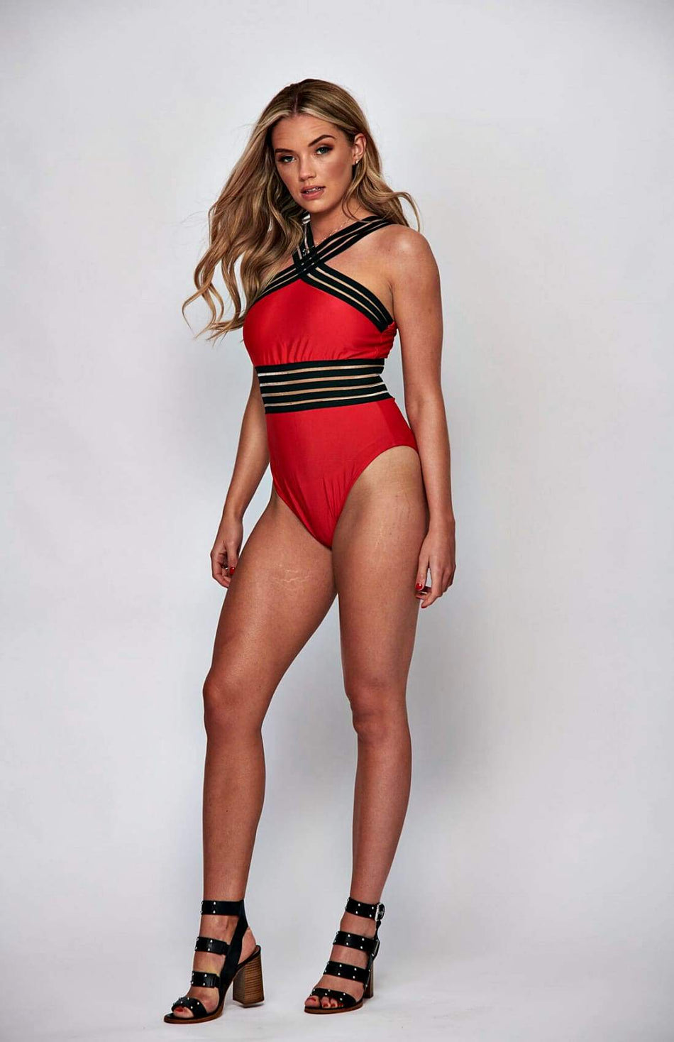 Red Stripe Monokini Swimsuit