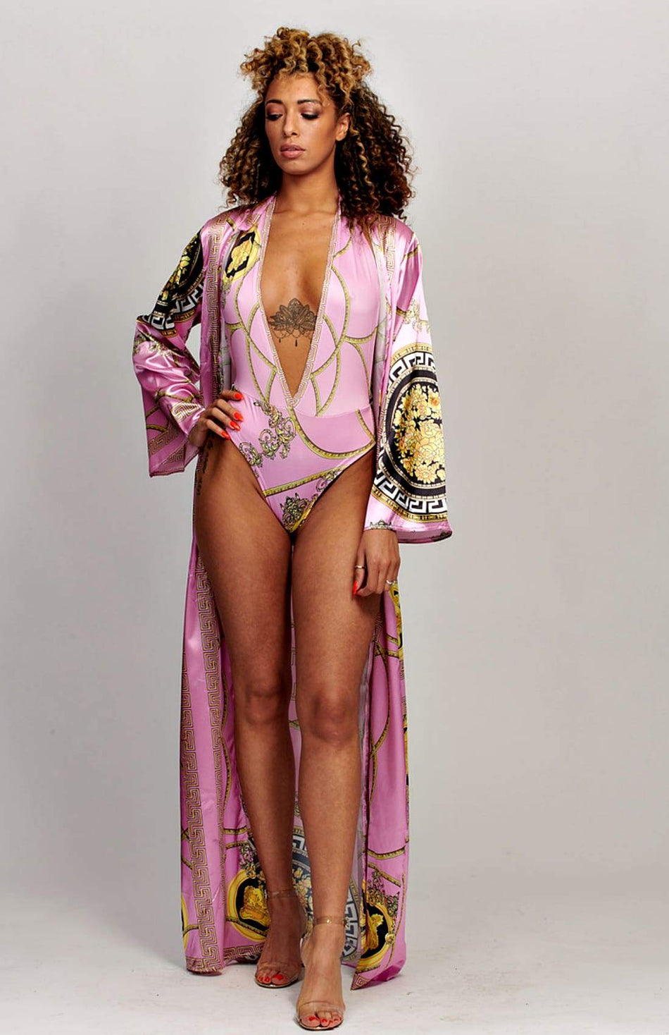 Satin Chain Print Swimsuit With Kimono