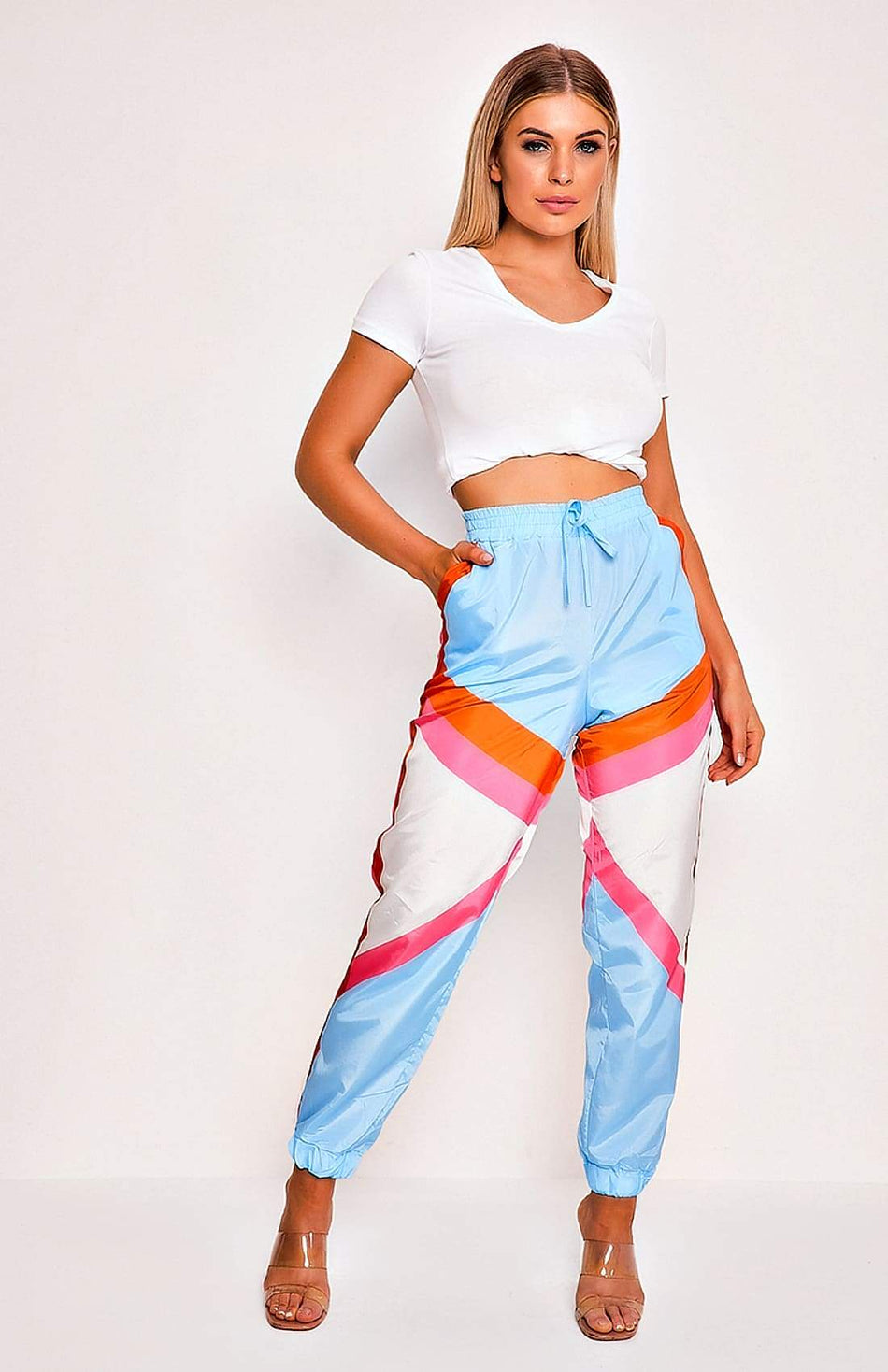 Sky Blue Patchwork Printed Tie Waist Pants