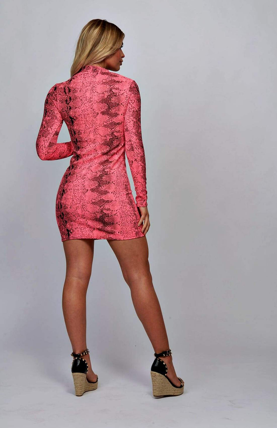 Neon Pink Snake Print High Neck Bodycon Dress