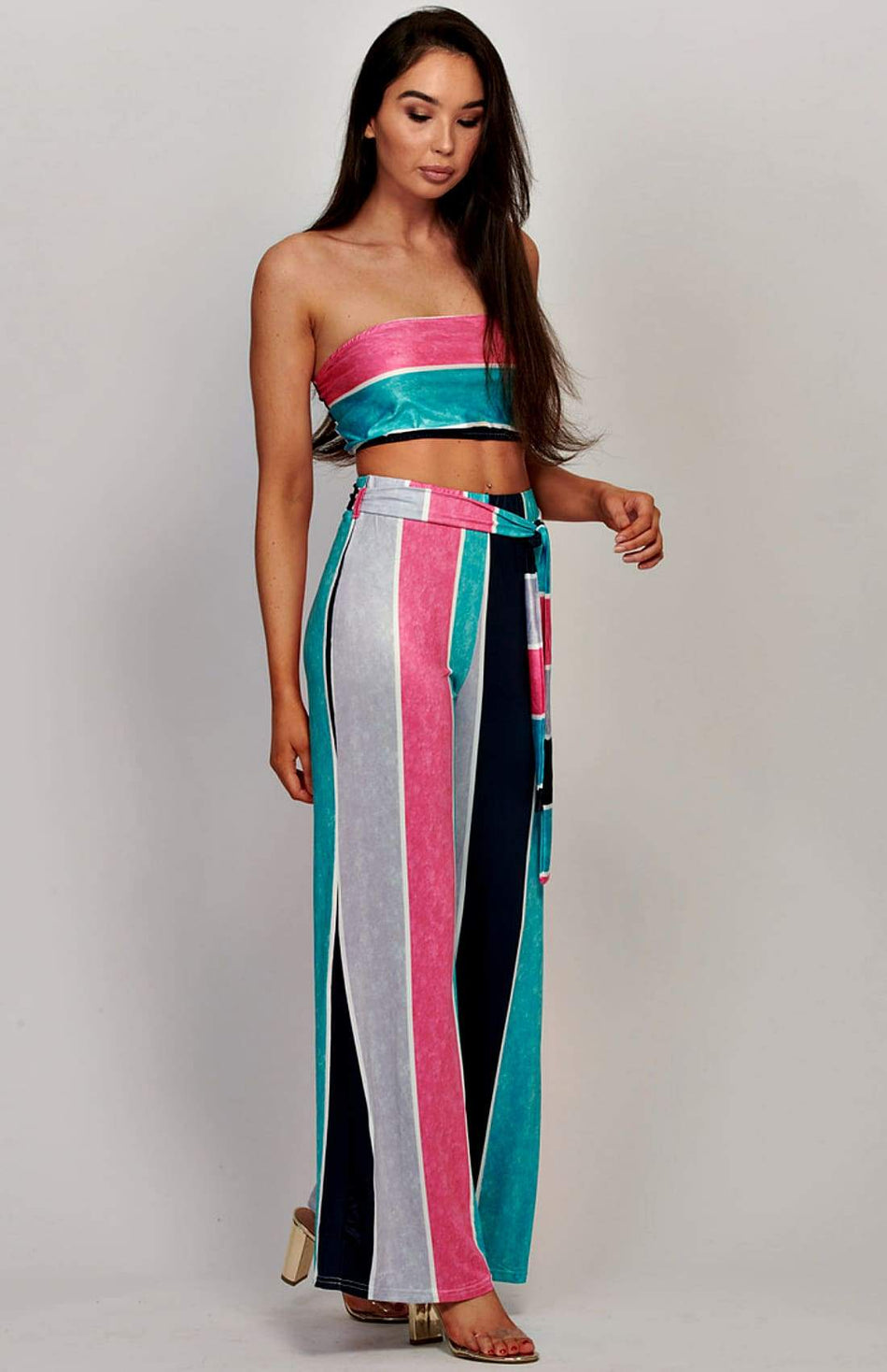Stripe Tube Top And Tie Front Trousers Co-Ord Set