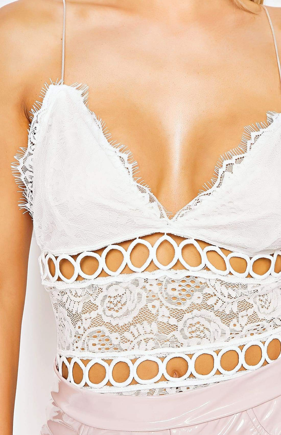 White Lace Trim Strappy Bodysuit