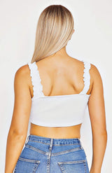White Ruffle Trim Tie Front Crop Top