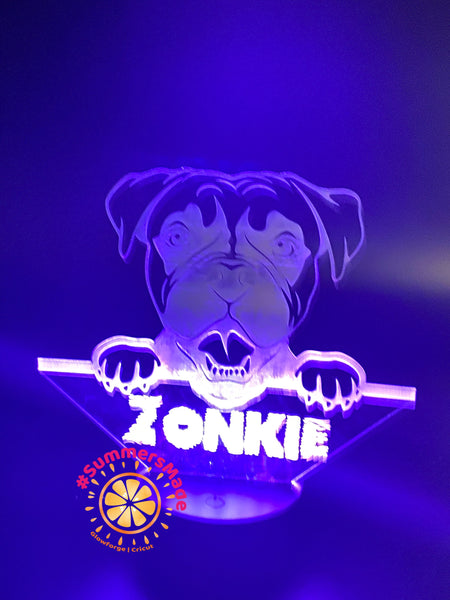 Boxer Dog Lamp - MultiColor Acrylic Lamp - USB or AA Battery