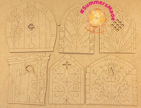 V5 - 6 Wooden Fairy Doors Volume Five - 6 Fairy Doors to decorate