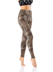 BYANCA Tight Leggings - Brown, Black & White Dots Decoration