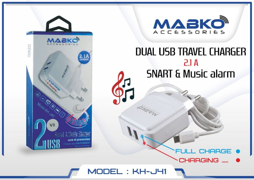MABKO KH-J41 Dual USB Travel Charger - Smart with Music Alarm