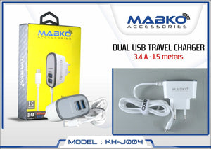 MABKO KH-J004 Travel Charger - Dual USB Output (1.5m)