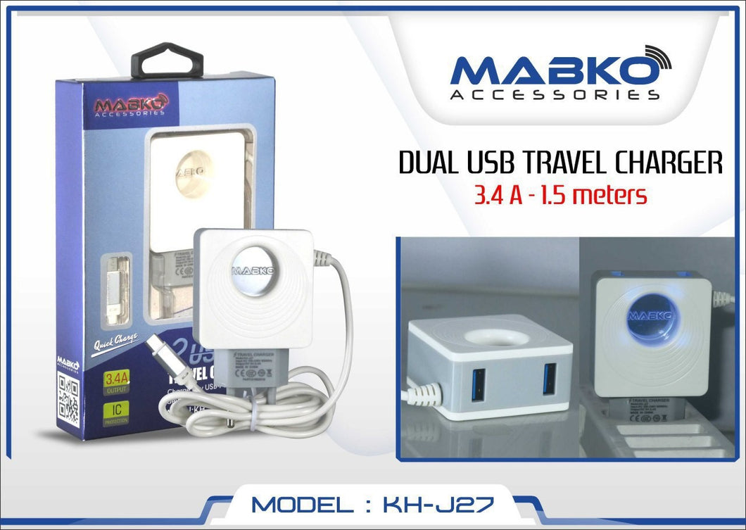 MABKO Travel Charger with Dual USB Output