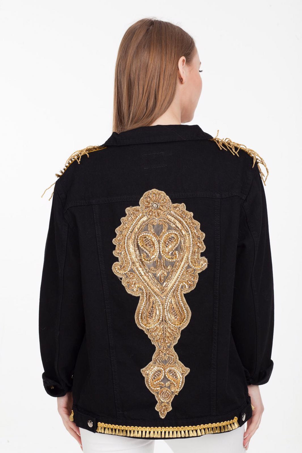BAJJARI Jeans Jacket for Women - Black with Back and Shoulder Decorations