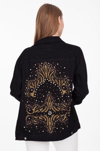 BAJJARI Jeans Jacket for Women - Black with Golden Queen Decorations