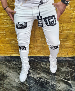 SHUHABAA Fabric Jeans for Men - White with Black Pocket Decorations