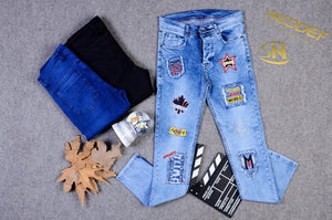 SHUHABAA Fabric Jeans for Men - Punk Decorations
