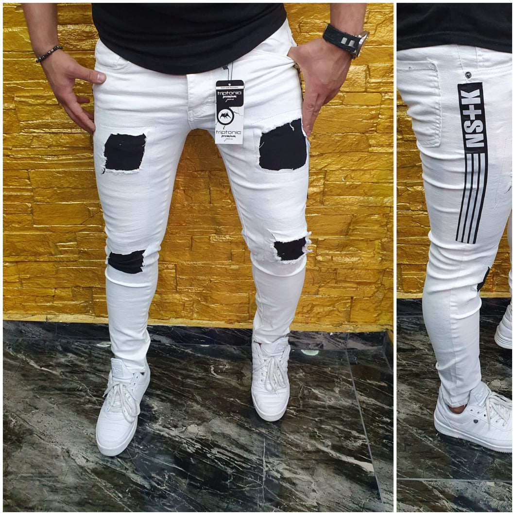 SHUHABAA Fabric Jeans for Men - White with Writings