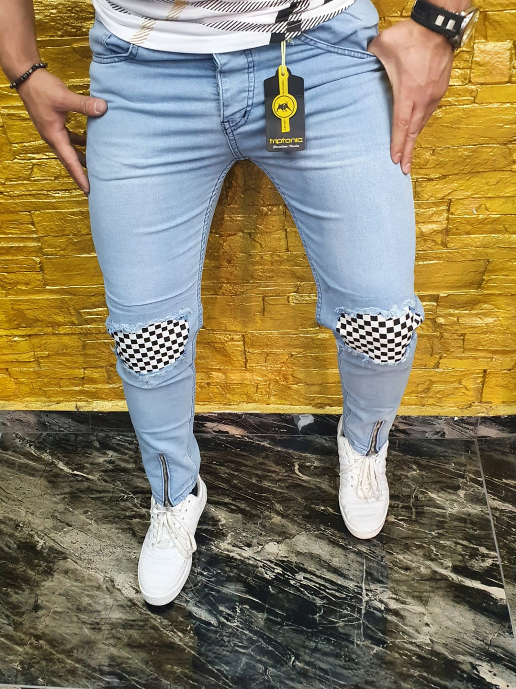 SHUHABAA Fabric Jeans for Men - Light Blue with Checkered Pockets