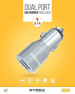 SYROX Dual Port Metalic Car Charger
