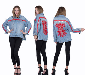 BAJJARI Jeans Jacket for Women - Light Blue with Red Decorations