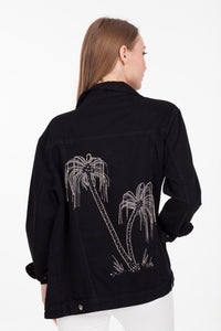 BAJJARI Jeans Jacket for Women - Palm Tree Decoration