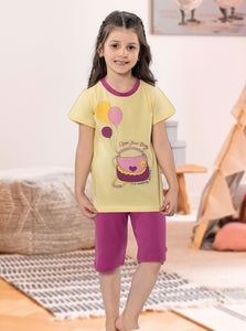 BYANCA 2 Piece Pajama for Girls - Yellow and Purple