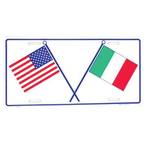 Italian/American Flag Metal License Plate - Guidogear