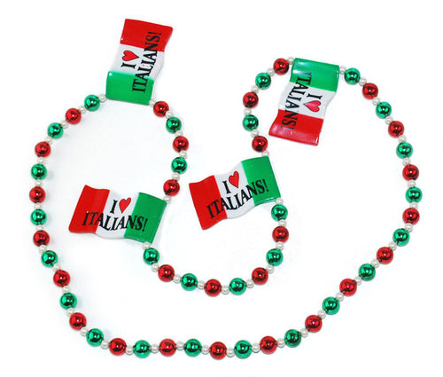 I Love Italians!  Italy flag beads - Guidogear