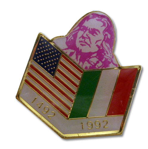 1492 1992 USA Italy Flags Pin - Guidogear