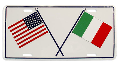 ITALY & USA Flags License Plate - Guidogear