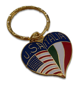 Brass Heart Shape USA & Italy Key Chain - Guidogear