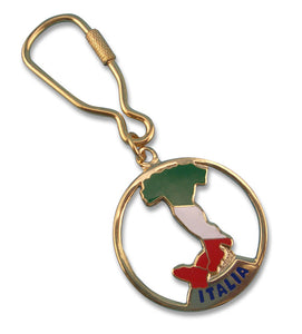 Brass Italy Boot Flag Key Chain - Guidogear