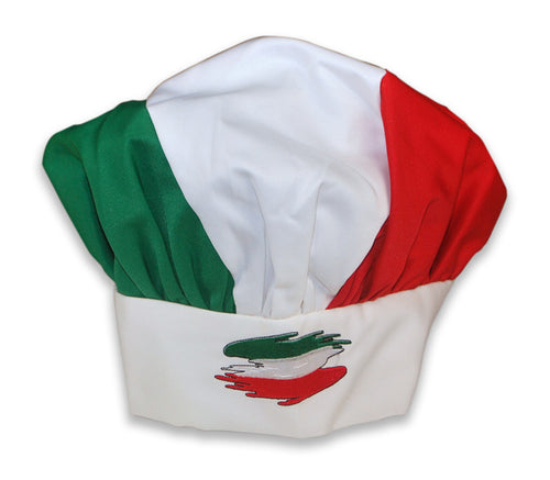 White Italian Flag Chefs Hat - Guidogear