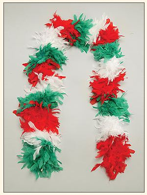 Italian Feather Boa Red, White & Green - Guidogear