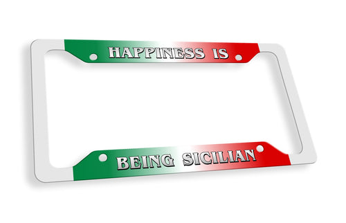 Happiness Is Being Sicilian License Plate Frame - Guidogear