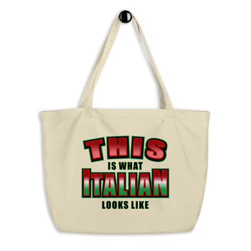 This Is What Italian Looks Like Large organic tote bag - Guidogear