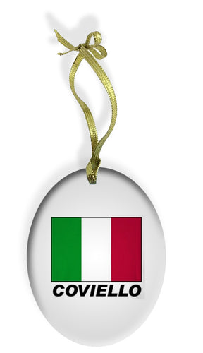 Personalized Italian Flag Holiday Color Glass Christmas Ornament - Guidogear