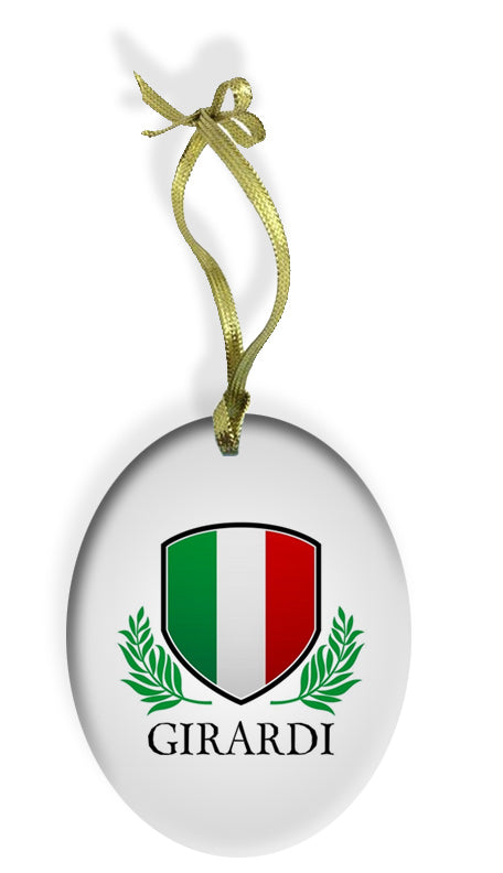 Personalized Italian Shield Holiday Color Glass Christmas Ornament - Guidogear