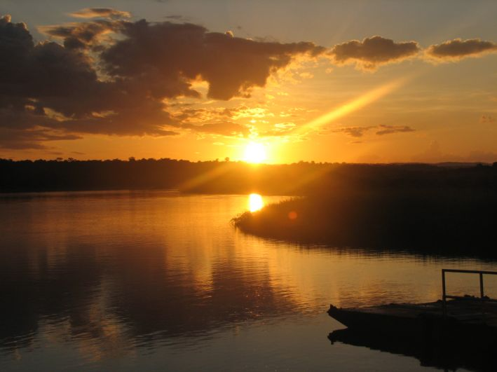 Sunset over the Nile River at Murchison Falls National Park
