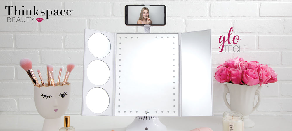 GloTech Bluetooth Makeup Mirror with Phone Holder