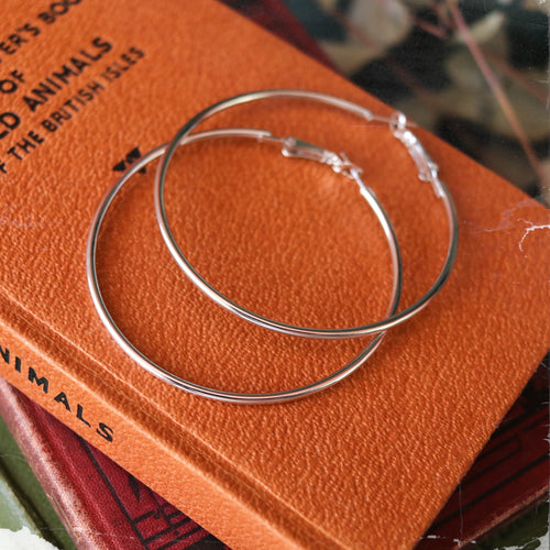 Large Plain Silver Tone Hoops