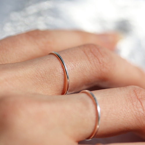 Delicate Sterling Silver Plain Band Boho Chic Ring