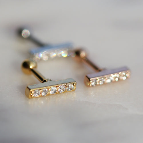Paved Line Boho Crystal Barbell *Colour Select