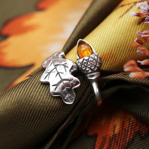LAST CHANCE Amber Acorn Wrap Autumn Ring | Talent Scout Winner