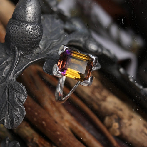 Aster Ametrine Gothic Sterling Silver Ring