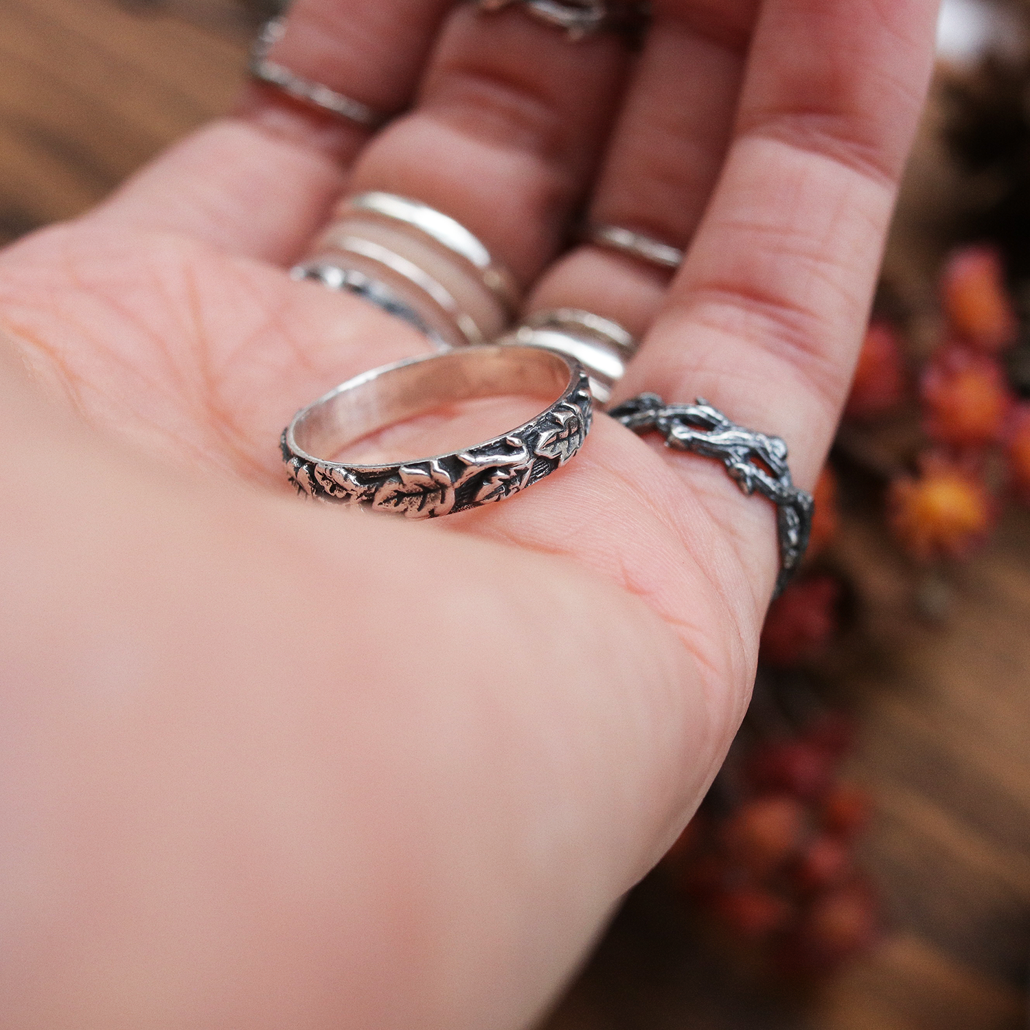 Secret Forest Boho Ivy Leaf Band Ring