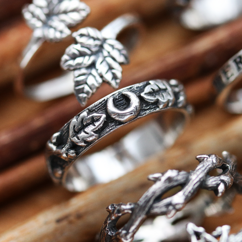 Forest Moon Gothic Band Stacking Ring